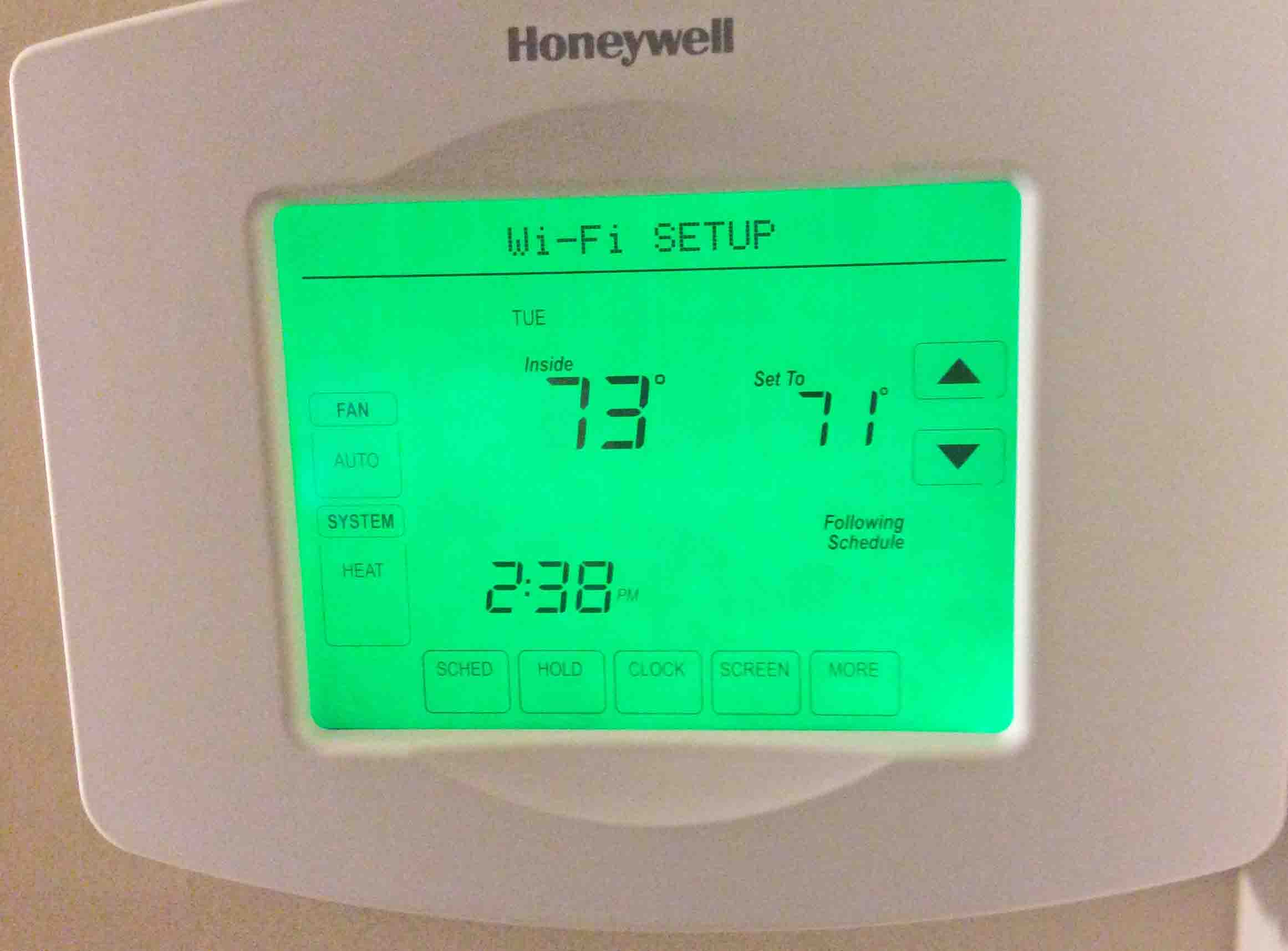 Change Wireless Network On Honeywell Wifi Thermostat Rth8580wf Air Conditioner Picture Of The Screen Display In Wi Fi Setup