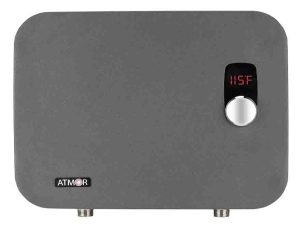 Tankless water heater disadvantages. Stock picture of the Atmor AT-910-27TP 27 kW / 240v ThermoPro series digital thermostatic tankless electric water heater, front view, stock photo.