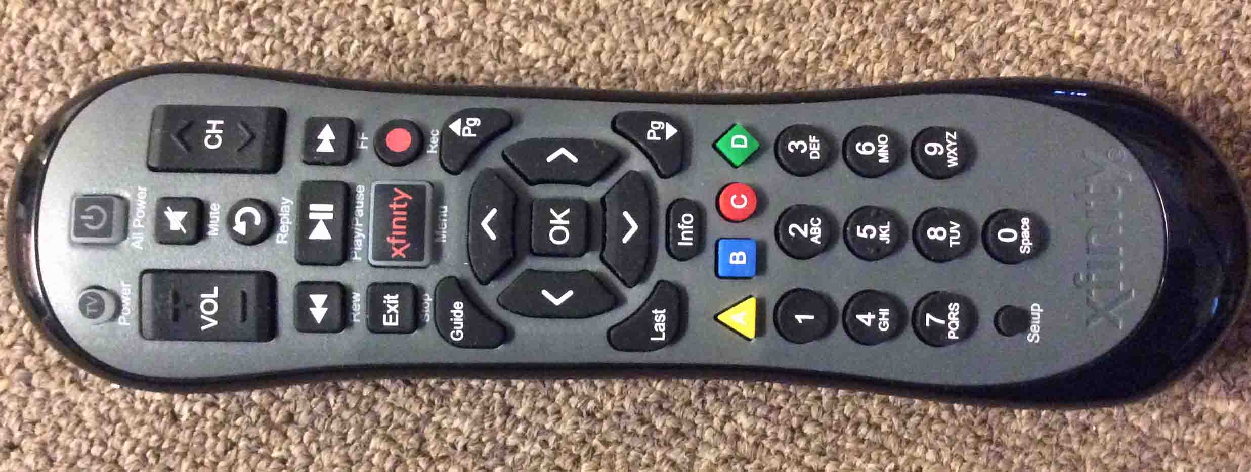 Xfinity Remote Reset XR2: Picture of the front of the Comcast Xfinity XR2  Version U2