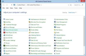 Showing where the Ease of Access Center program can be found in the Windows 8 Control Panel.