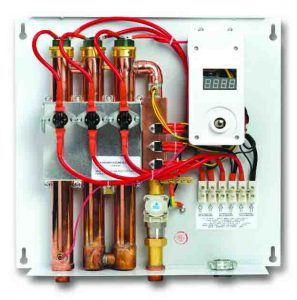 Stock picture of the EcoSmart ECO 27 electric tankless water heater, inside view, with front panel removed.
