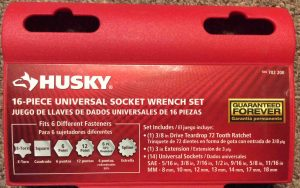 Picture of the front label of the Husky 16 Piece Universal Socket Set.