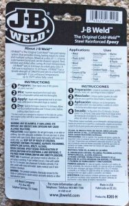 Picture of a pack of JB Weld steel epoxy back view, showing instructions, warnings, tips, and advice for use.