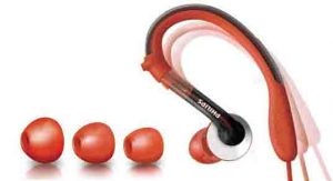 Stock picture of the Philips SHQ3000 sports action fit earhook headphones along with extra earcushions included.