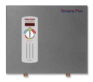 Tankless water heater disadvantages. Stock picture of the Stiebel Eltron Tempra 24 Plus electric tankless whole house water heater, front view.