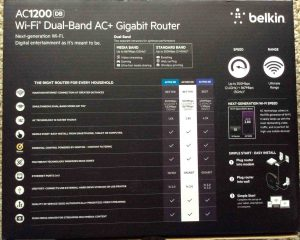 Picture of the back of the box for the Belkin AC 1200 DB Wireless Router.