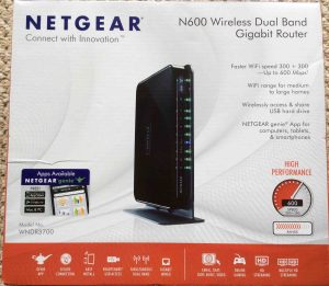 Picture of the Front of the original carton for the Netgear N600 WNDR3700v4 router.