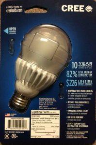Picture of a CREE LED Light Bulb, 100 Watt, back of original carton.