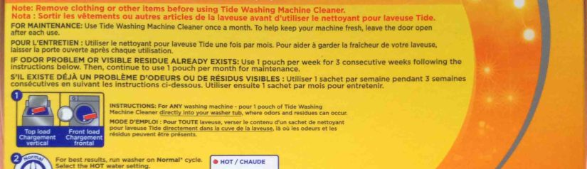 Picture of side panel one of a 5-pouch box of Tide Clothes Washer Cleaner.