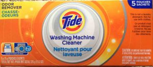 Tide laundry machine cleaner review. Picture of the top of a box of Tide laundry machine cleaner, 5 pouch package.