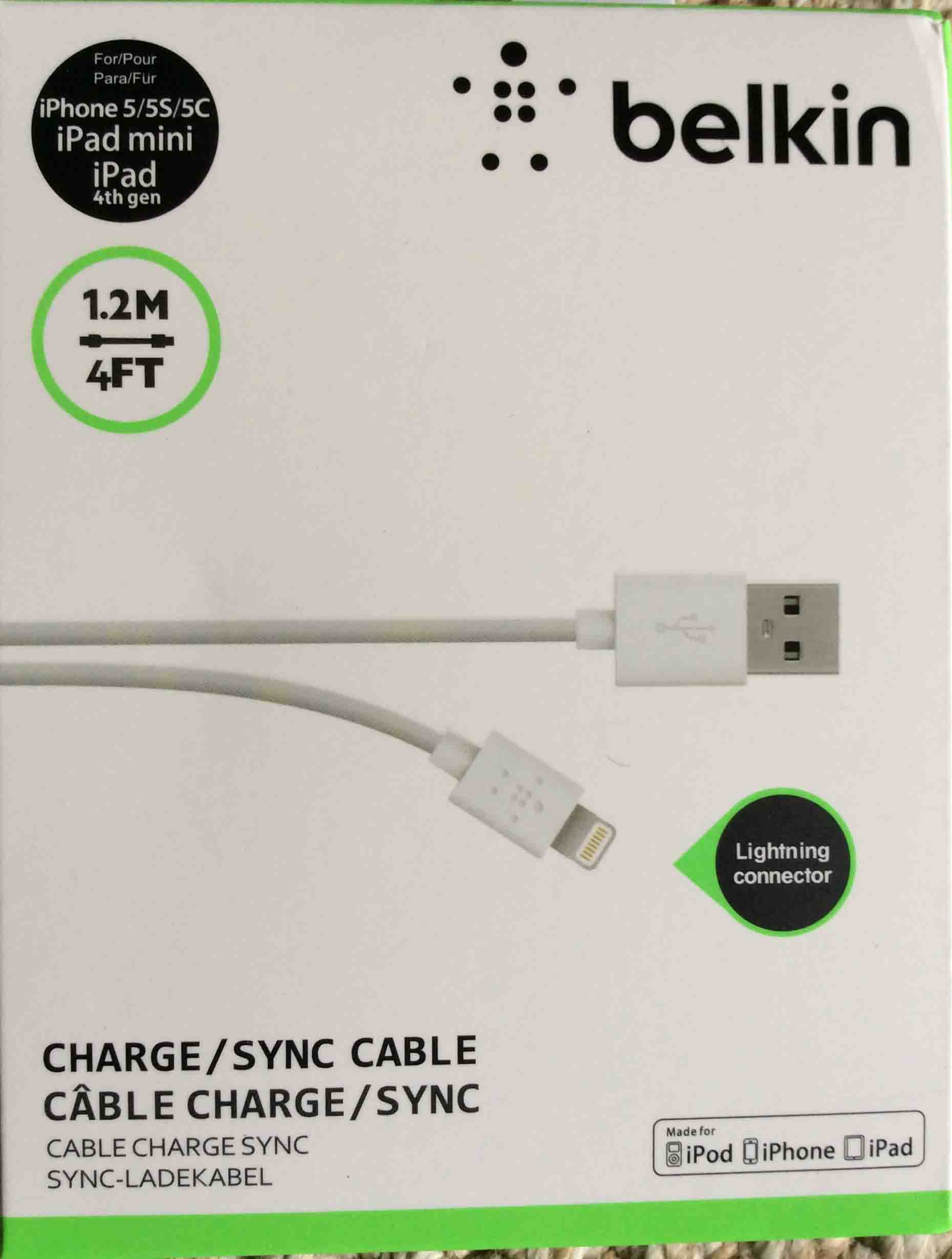 Picture of front of original package for the Belkin lightning USB cable. 2e40947d0c17a