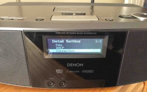 Picture of the Denon S-32 Internet Radio, showing the -Connection- menu item selected.