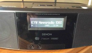 How to find internet radio stream URL. Picture of the Denon S-32 Internet Radio, successfully playing an audio stream.