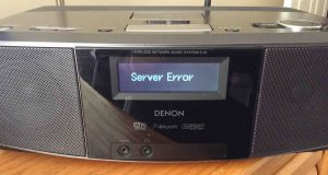 "Picture of the Denon S-32 Internet Radio, displaying the, ""Server Error,"" message."