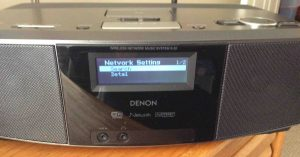 Picture of the Denon S-32 Internet Stream Player, showing its Network Setting menu.