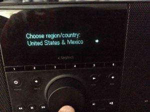 """Picture of the """"Choose Region Country"""" Screen on the Logitech Squeezebox Boom Wi-Fi Internet Radio."""