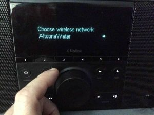Picture of the In Range Wireless Networks List Screen, on the Logitech Squeezebox Boom Radio.