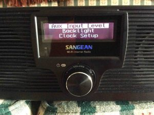 Picture of the Sangean WFR-20 Internet Radio, displaying its Configure menu.