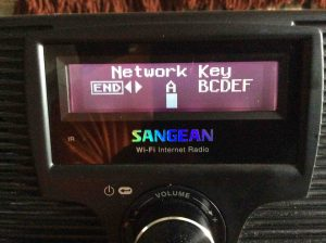 Picture of the Sangean WFR-20 radio, displaying the Network Key Entry screen.