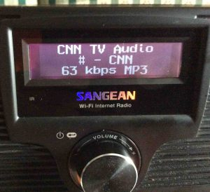 Picture of the Sangean WFR-20 Radio, playing Internet station after successful Wi-Fi network connection is established.