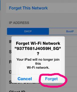 Picture of the ''Forget Network Confirmation'' Dialog Box on iOS Devices.
