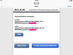 Picture of the Belkin F9K1106v1 Range Extender, displaying the Extended Networks Information screen, as seen in the Safari web browser.