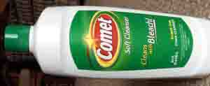 Picture of a 24 ounce bottle of Comet Scratch Free Soft Bleach Cleanser, front horizontal view.