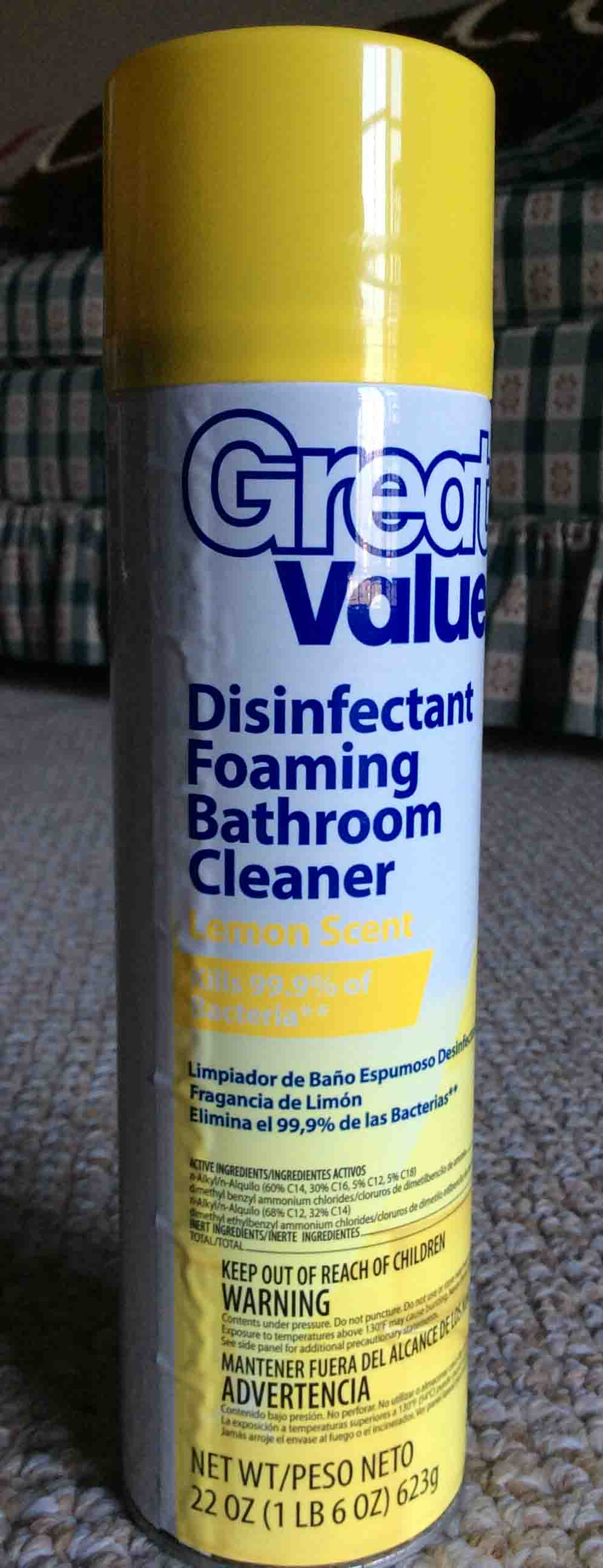 Uncategorized scrub free bathroom cleaner msds - Picture Of A 22 Ounce Can Of Great Value Disinfectant Foaming Bathroom Cleaner Lemon Scent