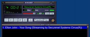 Picture of Winamp playing an audio stream URL successfully.