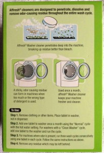 Affresh washer cleaner review. Picture of Affresh® washing machine cleaner, 7 ounce box, bottom view.