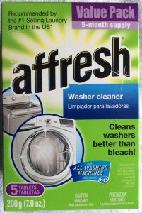 Affresh laundry machine cleaner review. Picture of Affresh® laundry machine cleaner tablets, 7 ounce box, top view.