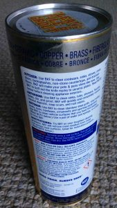 Picture of Bar Keepers Friend® Cleanser Polish, 21 ounce can, back view 1, showing usage instructions, tips, and warnings.