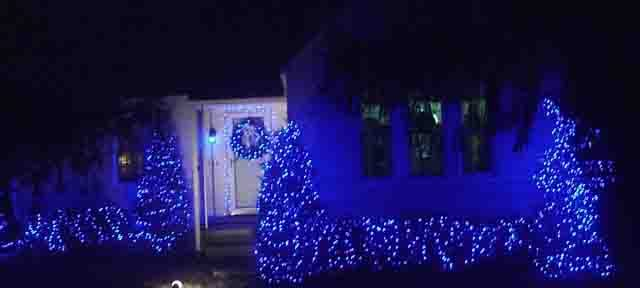 Blue LED Christmas Lights Decorating Outdoors