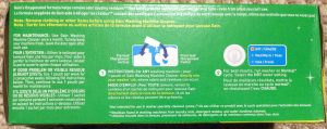 Picture of Gain washing machine cleaner, 4 pouch box, bottom view, showing usage instructions and cautions.