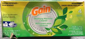 Picture of a 10.58 ounce box of Gain washing machine cleaner, four pouch, top view.