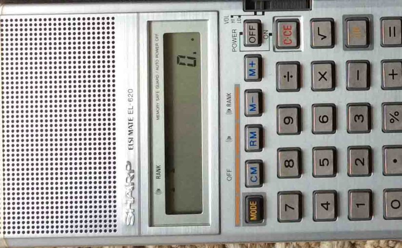 Picture of the Sharp EL-620 Elsi Mate Talking Calculator, front close-up view of keyboard.