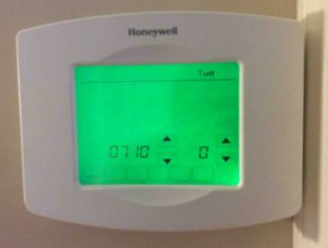 Picture of the Honeywell RTH8580WF Thermostat, showing the Restore Original Settings option 0710.
