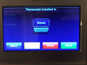 Picture of the Honeywell RTH9580WF Smart WiFi Thermostat, Displaying the Thermostat Installed In screen.