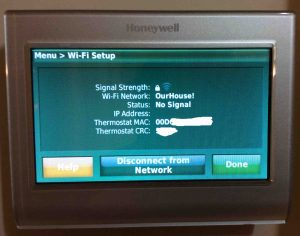 Picture of the Honeywell RTH9580WF smart t-stat , displaying the WiFi Setup screen. Reconnecting Honeywell thermostat RTH9580WF to WiFi network.