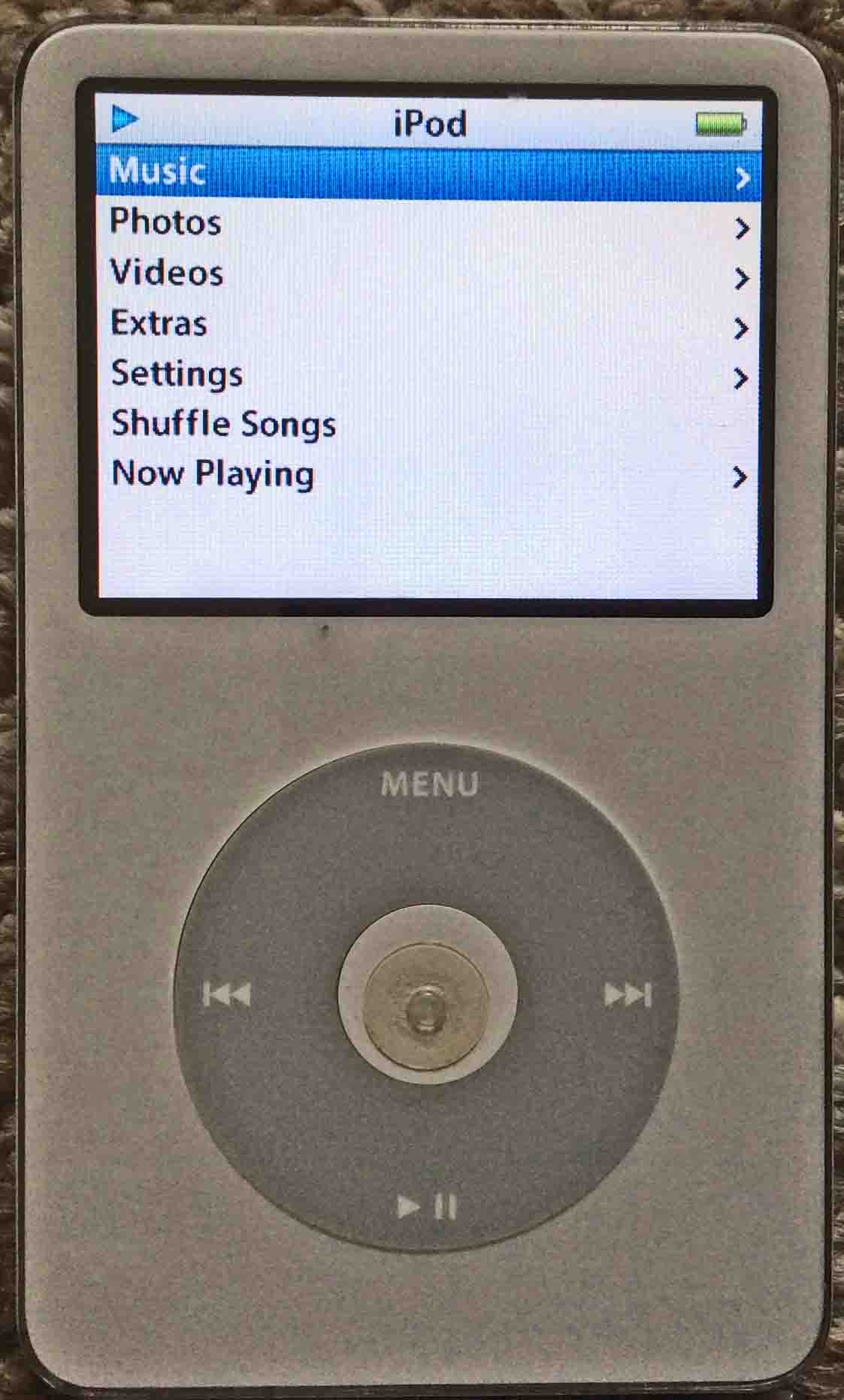 Picture of the iPod Classic Video Player, displaying its Main menu, after  factory default
