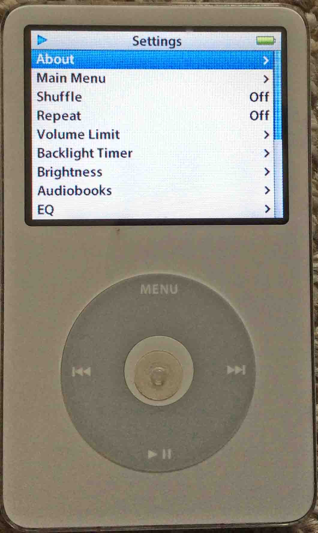 Reset iPod Video Apple Player to Factory Default Settings