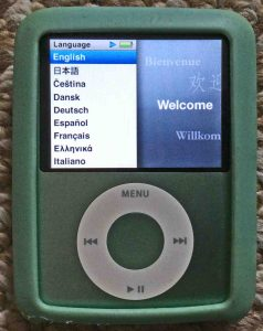 Picture of the iPod Nano 3rd Gen Portable Player, displaying its Language Selection menu.