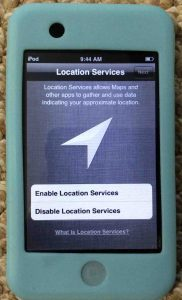 Picture of the Apple iPod Touch Player, displaying the Location Services option screen.