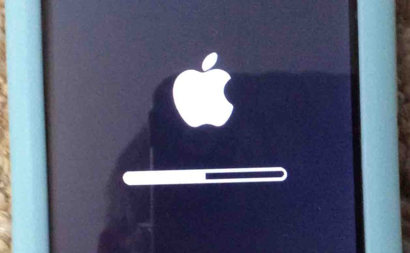Picture of the Apple iPod Touch Player, displaying the Reset All Settings progress bar screen.