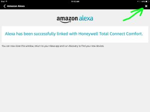 Picture of the Amazon Alexa App, displaying the Linkage Successful screen, with the Close button highlighted.