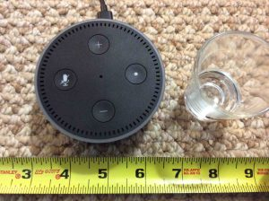 Picture of the Amazon Alexa Echo Dot Gen 2 Speaker measurements, perspective. Amazon Alexa Echo Dot speaker picture gallery.