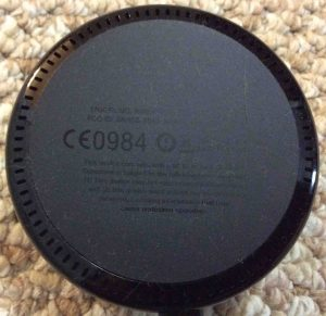 Picture of the Amazon Alexa Echo Dot Gen 2, showing underside and the speaker openings.