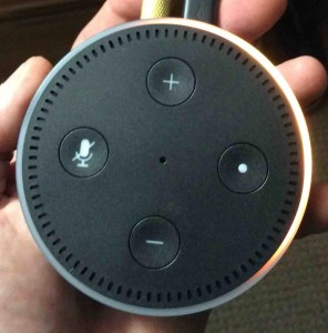 Picture of the Amazon Echo Dot Gen 2 in Setup Mode, showing Light Ring with orange blip circling. Amazon Alexa Echo Dot speaker picture gallery.