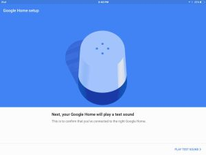 Picture of the Google Home app on iOS, displaying the Google Home Setup screen, prompting to play a test sound on the speaker.