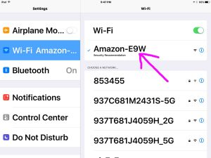 Picture of the iOS Settings WiFi Screen, showing successful connection with the AMAZON-XXX network. Reconnect Echo Dot to new WiFi network.